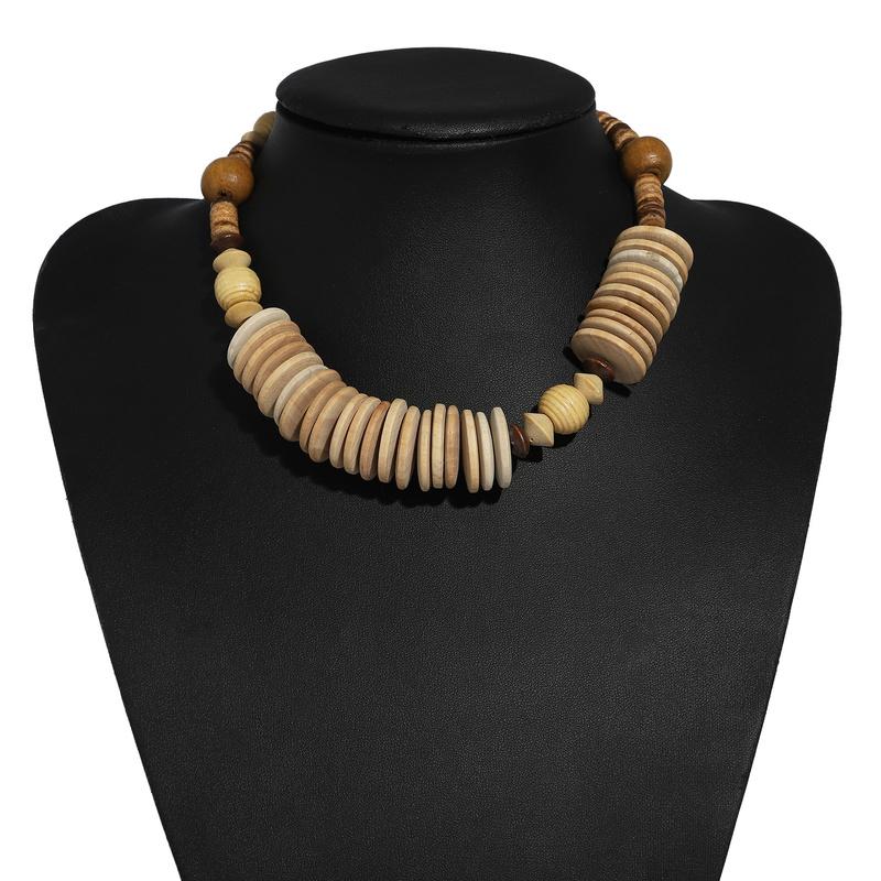 ethnic wood beads pendant necklace NHJQ339722