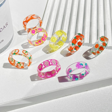 anillo de resina de fruta simple NHPJ339765's discount tags