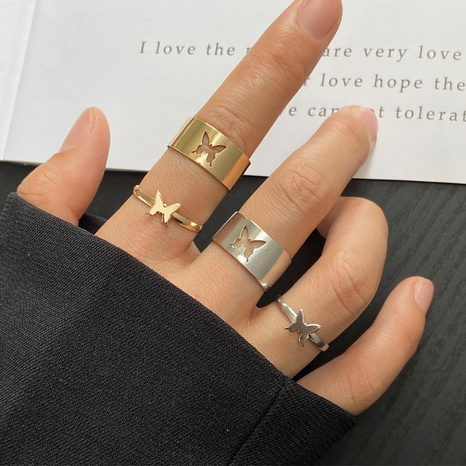 punk butterfly couple ring NHPJ339764's discount tags