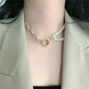 Simple heart buckle pearl clavicle chain NHYQ339784