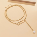 Punk hollow ring imitation pearl necklace  NHXR339811