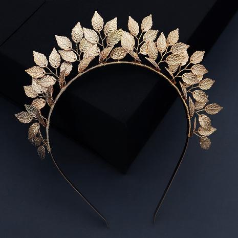 Fashion crown handmade golden leaf bridal headband NHHS339860's discount tags