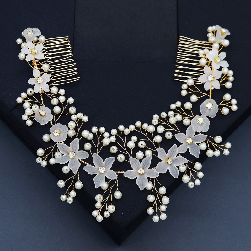 Korean wedding pearl hair comb  NHHS339878