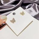 Korean fashion zircon microinlaid butterfly earrings NHCG339899