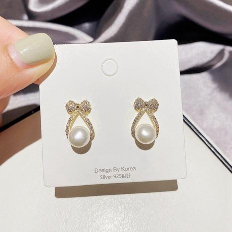 Boucles d'oreilles micro-nœud coréen simples Sweet Pearl Zircon NHCG339906's discount tags