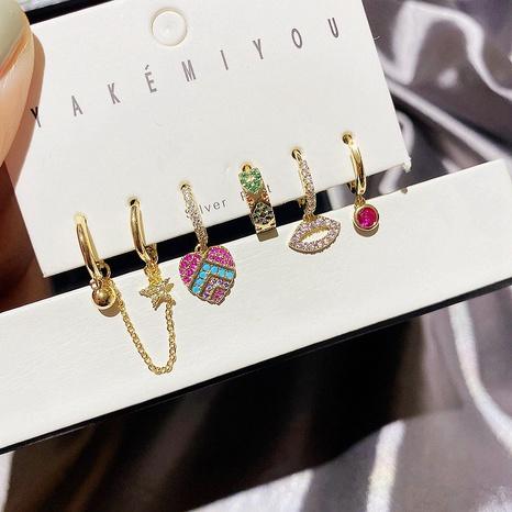 fashion zircon micro-inlaid sexy lips love earrings NHCG339912's discount tags