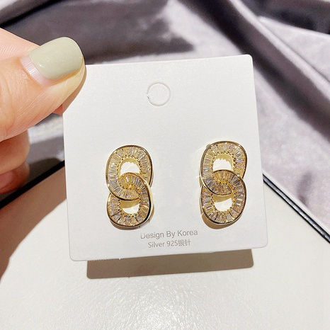 fashion double ring zircon earrings  NHCG339914's discount tags