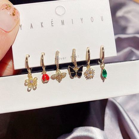 Korean zircon flowers bee butterfly earrings set NHCG339916's discount tags