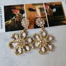 dark green flower crystal long insect earrings NHOM339954