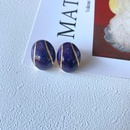 Retro enamel drip glaze purple gemstone earrings NHOM339955