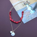 Red Gravel Shell Shape Pendant Doublelayer Necklace  NHOM339962