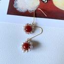 Korean pearl agate stone woven flower earrings NHOM339964