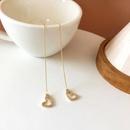 simple pearl long love diamond earrings  NHBY340057