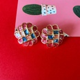 NHOM1573646-checkered-drip-glaze-silver-pin-earrings-2.2CM