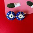 NHOM1573652-Five-star-blue-drip-glazed-silver-pin-earrings-2