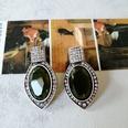 NHOM1573701-Dark-green-gemstone-and-silver-pin-stud-earrings