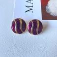 NHOM1573707-Purple-Round-Silver-Needle-Stud-Earrings-2.4CM