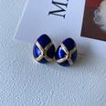 NHOM1573711-Water-drop-enamel-silver-pin-earrings-1.52CM