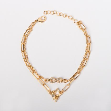 0 $ Souvenir Seckill Nihao 8e anniversaire pour bracelet double couche papillon diamant en alliage NHBZN339520's discount tags