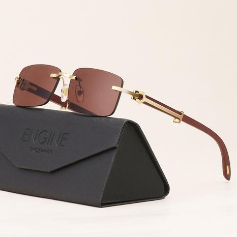 nuevo estilo de moda corea gafas de sol con patas de espejo de grano de madera NHLMO340351's discount tags