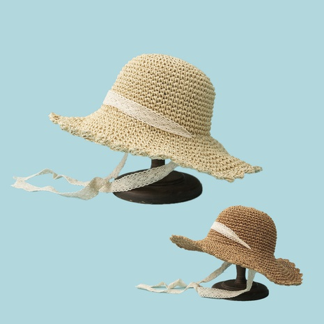 Solid color lace windproof wide-brimmed straw hat NHTQ340383's discount tags