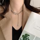 Fashion titanium steel letter B tassel necklace wholesale NHYQ340403