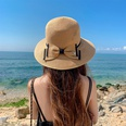 NHCM1575817-Dome-Double-Bow-Straw-Hat-Brown-One-size