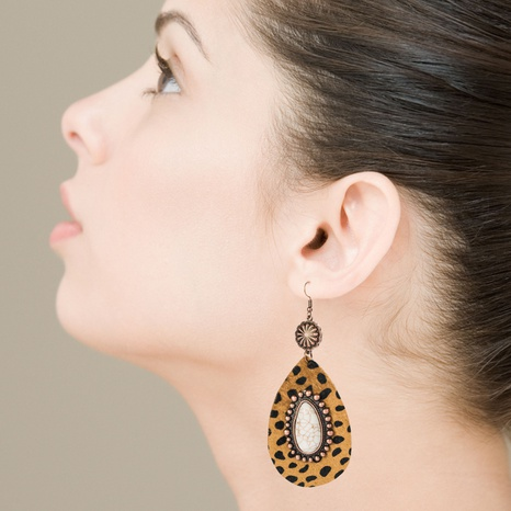 Exaggerated drop-shaped leather leopard earrings alloy inlaid white turquoise bronze long earrings NHLN340764's discount tags