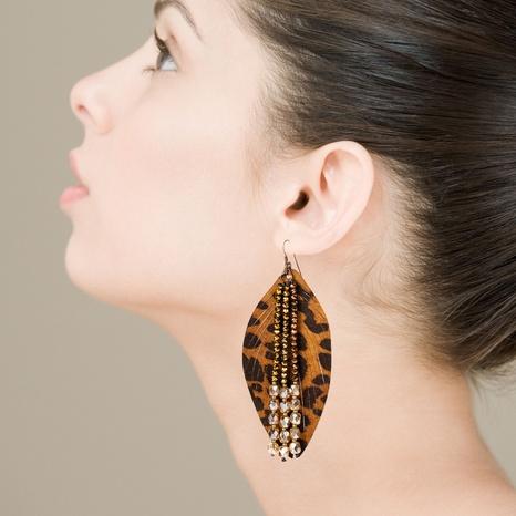 Bohemian Leopard Print Long Crystal Earrings Leaf Leather Tassel Earrings NHLN340763's discount tags