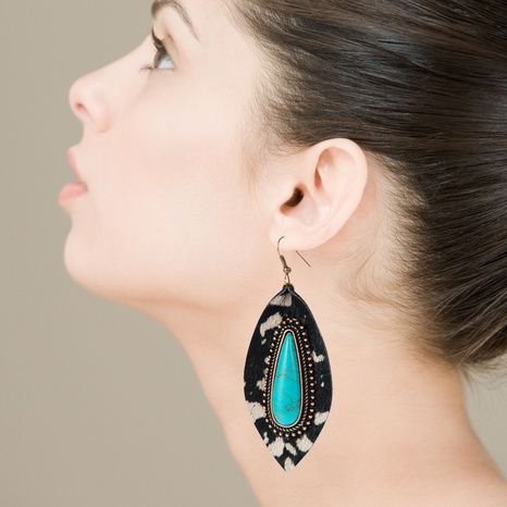 Fashion leather earrings exaggerated leopard blue turquoise earrings  NHLN340760's discount tags