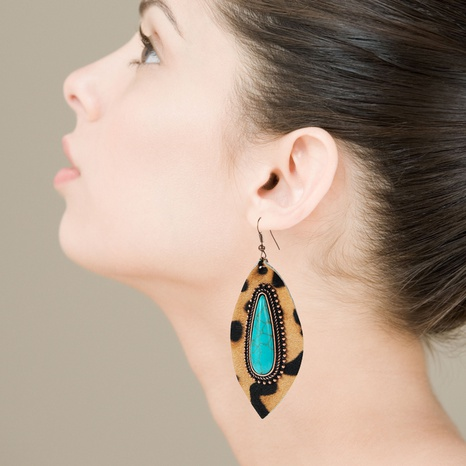 Exaggerated drop-shaped turquoise leather leopard print earrings  NHLN340761's discount tags