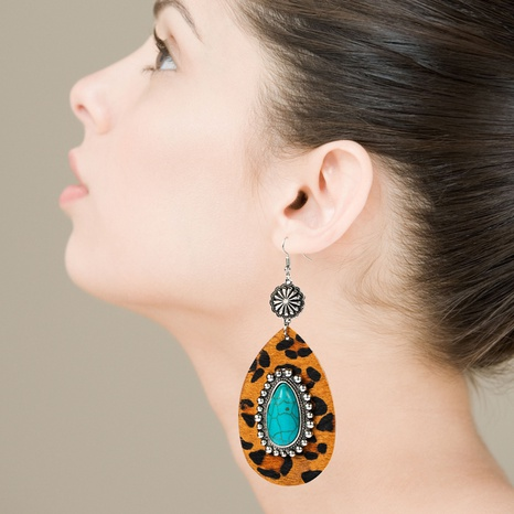Fashion exaggerated drop-shaped leather leopard earrings alloy inlaid turquoise ancient silver long earrings NHLN340762's discount tags