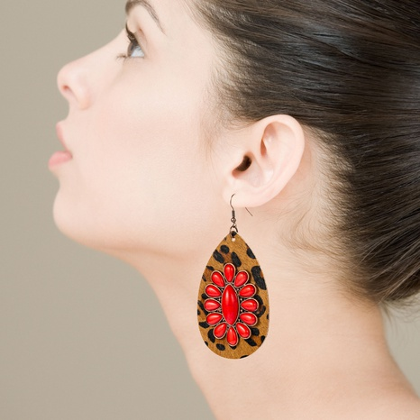 Bohemian drop-shaped leather leopard earrings exaggerated inlaid turquoise earrings NHLN340766's discount tags