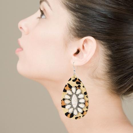 Pendientes bohemios de leopardo de cuero en forma de gota exagerados pendientes de turquesa blanca NHLN340765's discount tags