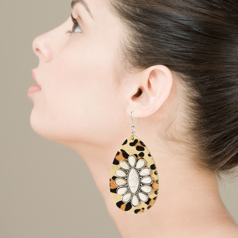 Bohemian drop-shaped leather leopard earrings exaggerated white turquoise earrings NHLN340765's discount tags
