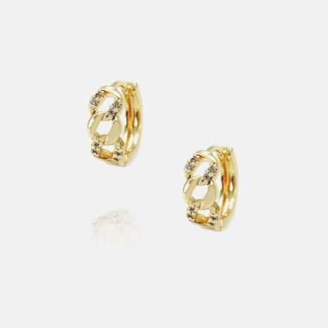 Vente en gros boucles d'oreilles géométriques simples en zircon plaqué or NHWV340194's discount tags