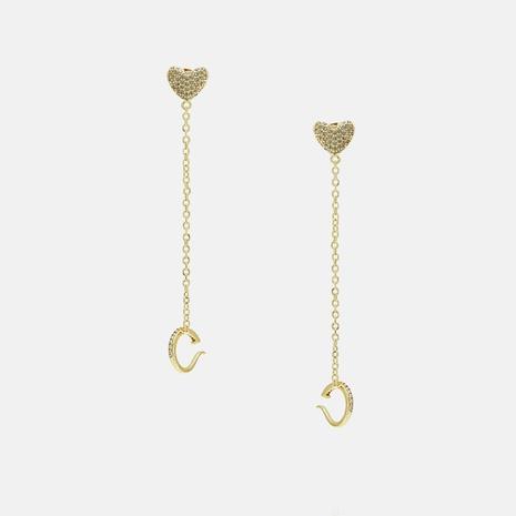 Vente en gros boucles d'oreilles pendentif en forme de coeur zircon NHWV340195's discount tags