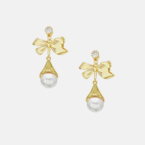 Mode Schmetterling Perle Strass Kupfer Ohrringe Großhandel NHWV340202's discount tags