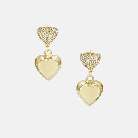 boucles d'oreilles en forme de coeur zircon plaqué or NHWV340205's discount tags