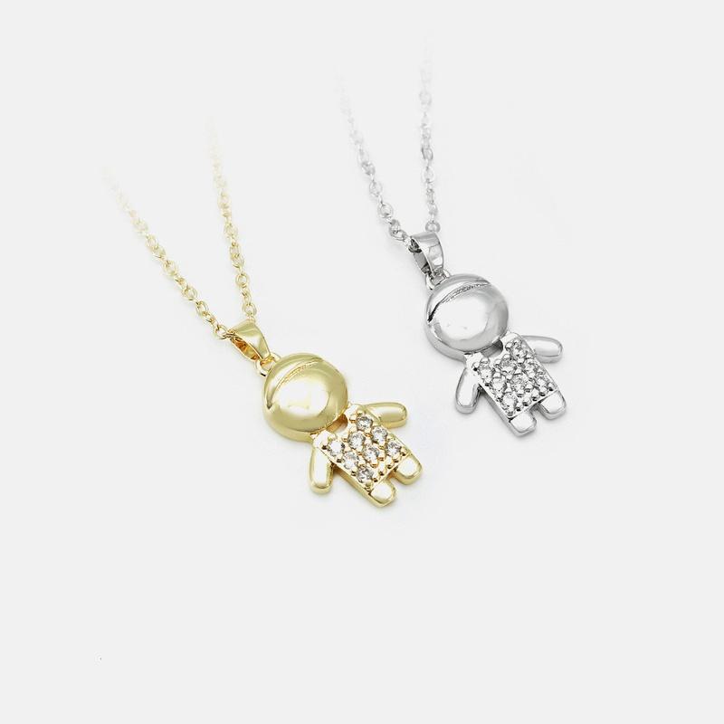 Fashion little boy copper goldplated zircon necklace wholesale NHWV340206