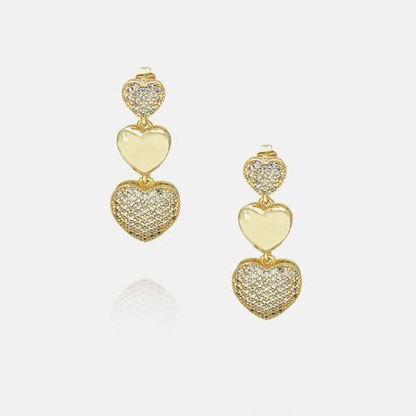 Boucles d'oreilles en zircon en cuivre plaqué or en forme de coeur en gros NHWV340210's discount tags