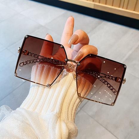new fashion style korea Chain hollow big box sunglasses NHKD340215's discount tags
