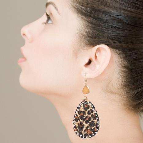 Pendientes de diamantes de imitación bohemios con estampado de leopardo de cuero PU de moda NHLN340784's discount tags