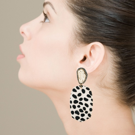fashion exaggerated leather horsehair print polka dot earrings NHLN340783's discount tags