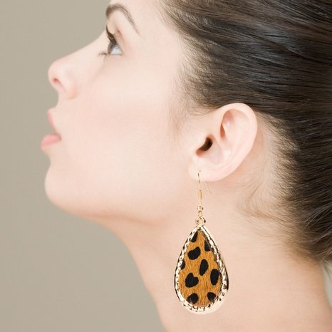 Wholesale exaggerated drop-shaped leather leopard print earrings  NHLN340768's discount tags