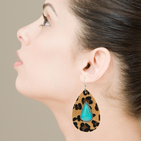 Fashion leather leopard print exaggerated earrings drop-shaped inlaid blue turquoise earrings NHLN340767's discount tags