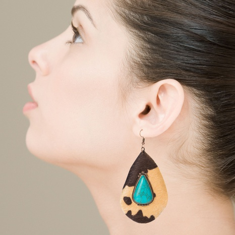 fashion exaggerated drop-shaped PU leather leopard print earrings NHLN340782's discount tags