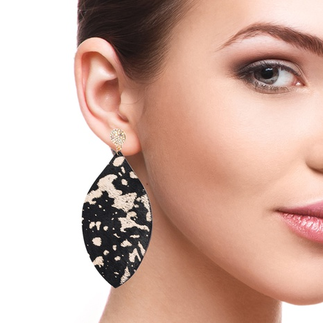 fashion exaggerated leather horsehair leopard print long earrings NHLN340780's discount tags