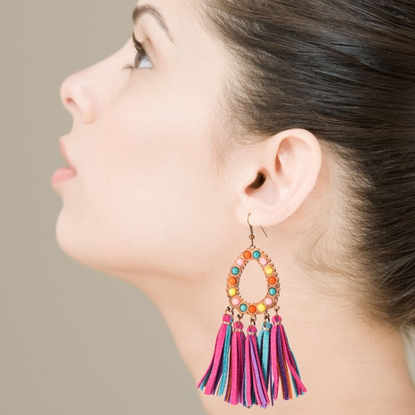 creative new exaggerated leather leopard print tassel earrings NHLN340781's discount tags