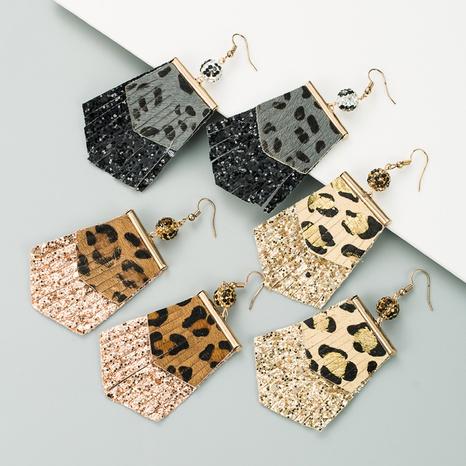 Pendientes largos de cuero con estampado de leopardo de moda NHLN340777's discount tags